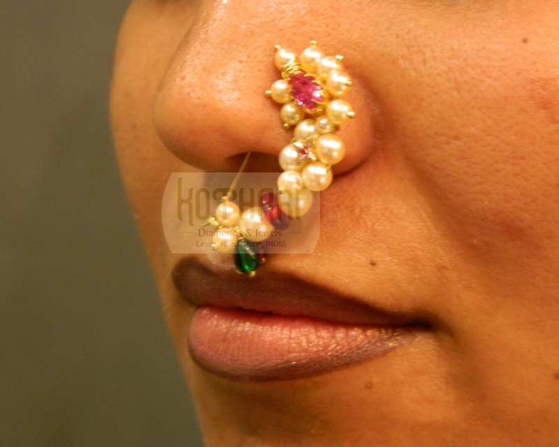 Marathi Nose Ring Nath In 22kt Gold And Pearls