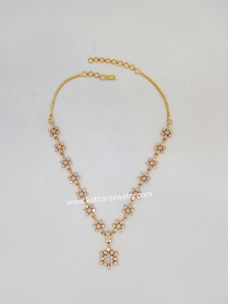 Diamond Necklace Chokers South Indian Long Diamond