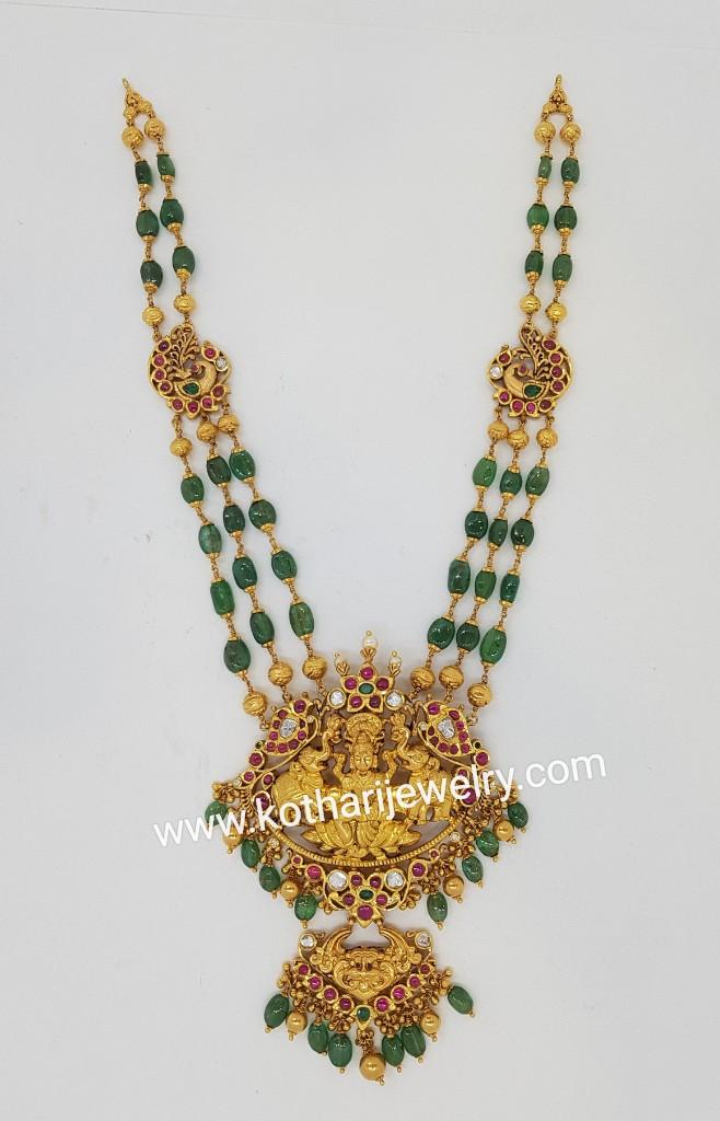 Gold Necklaces Harams Kundan Diamond Choker Necklace Emerald Beads Mala With Navratna Pendant South Indian Kundan Mango Mala