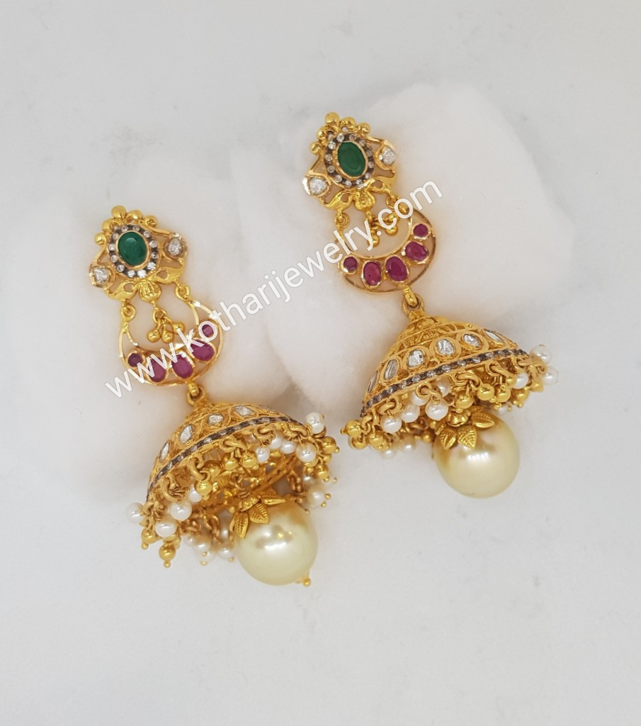 baadb52e530a3 Gold Earrings / Jhumkis / Chandbali - Gold Chand Bali Earrings with ...