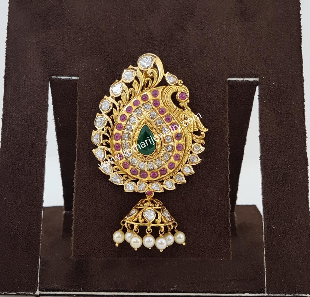 Gold Pendant Sets / Tikka - Peacock Pachi Ruby Emerald Pendant