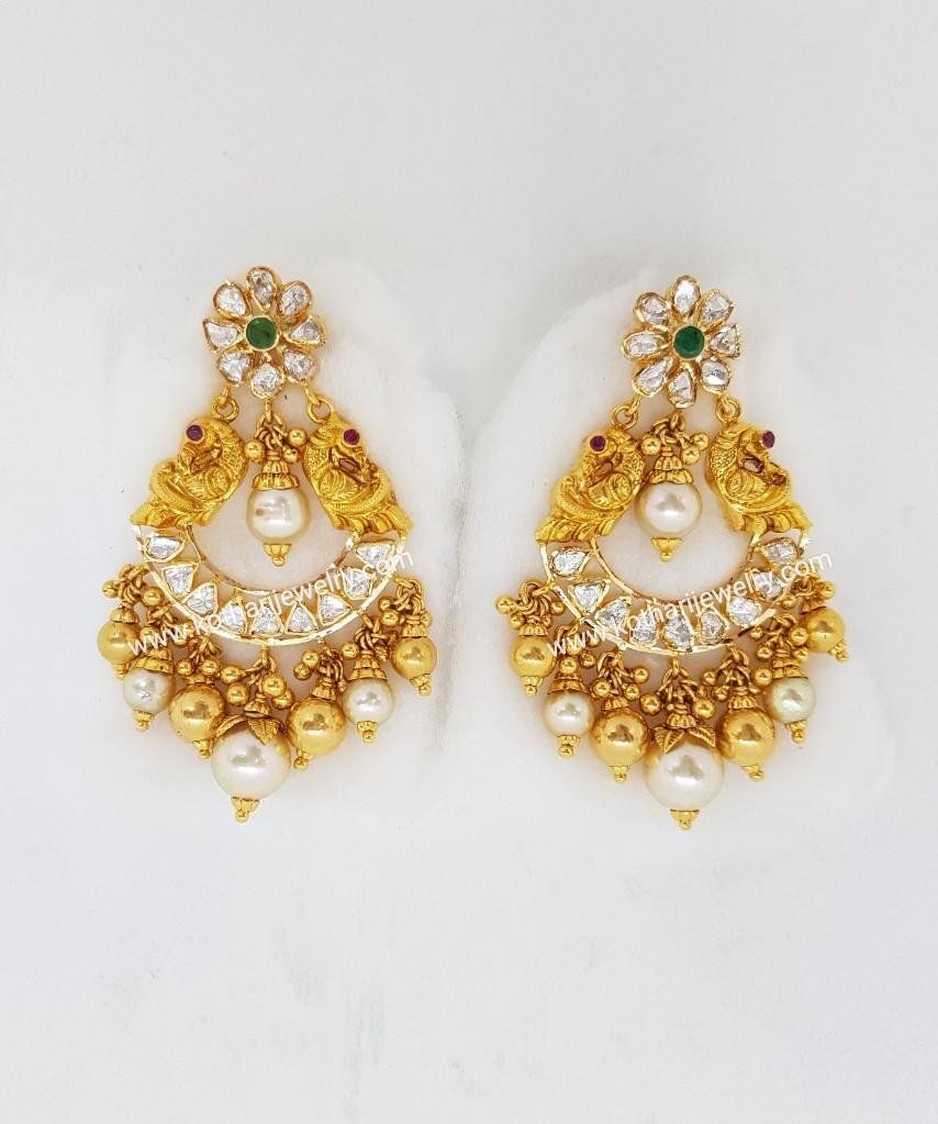 Gold Earrings / Jhumkis / Chandbali - Pachi Ruby Pearl