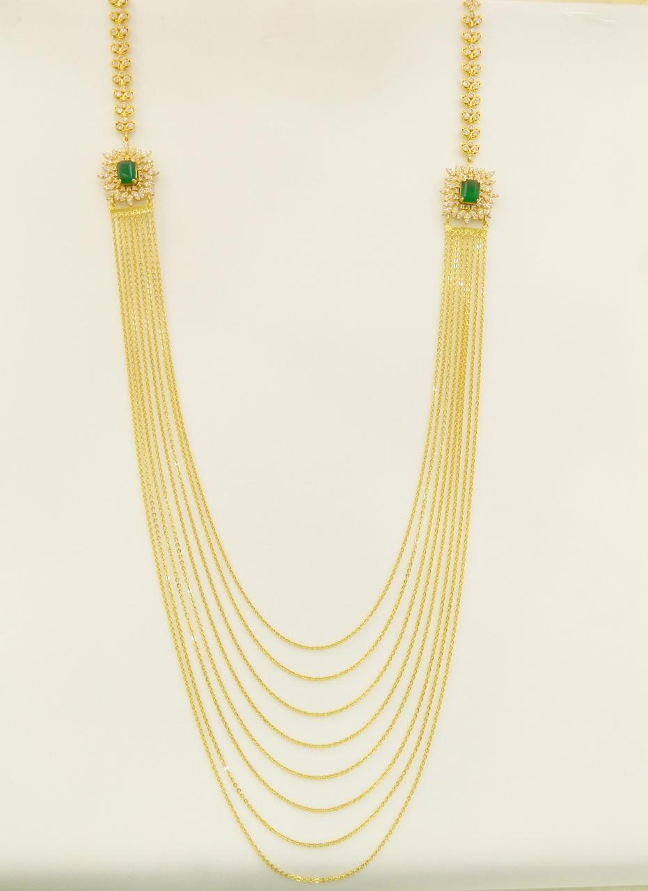 22kt Gold Long Cz Chandraharam