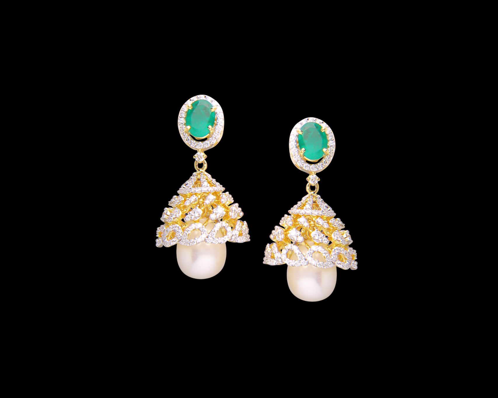 0900e74f5 Indian diamond Jhumkies / ERDIA00011. Detachable Diamond Jhumka Earring ...