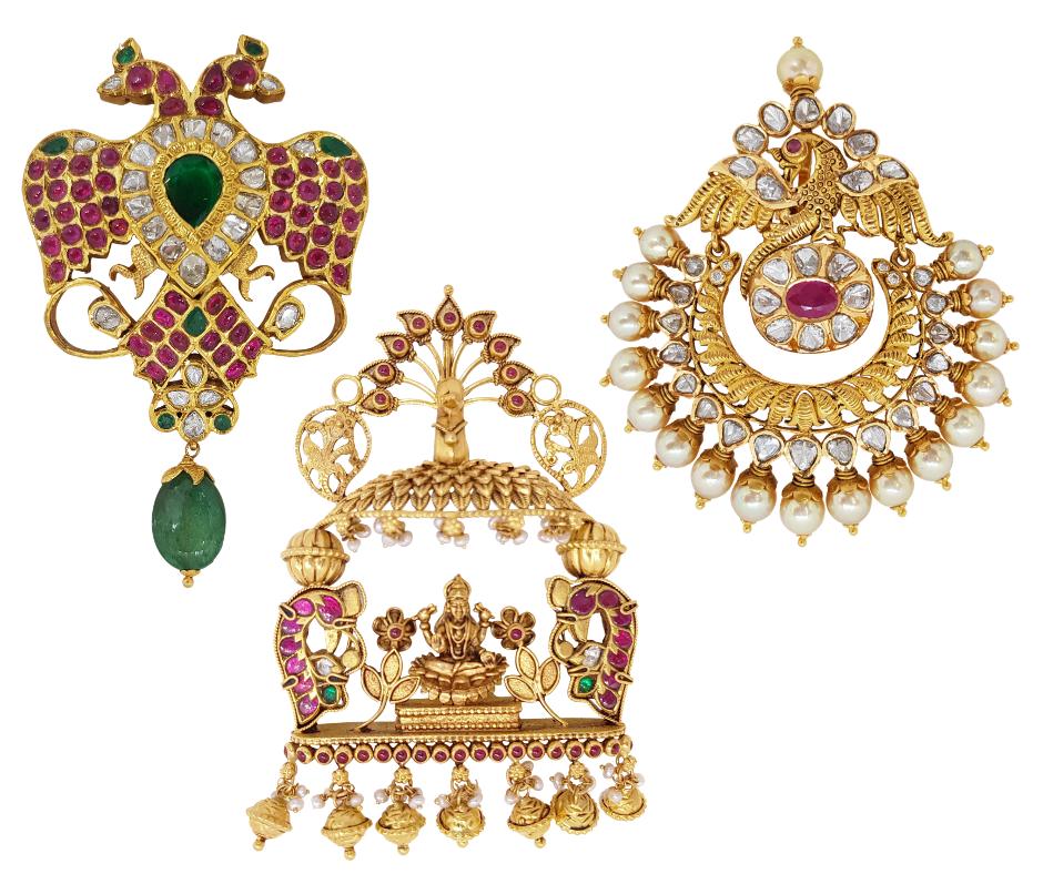 Gold Pendant Sets / Tikka - Pacchi Diamond Peacock Nakshi