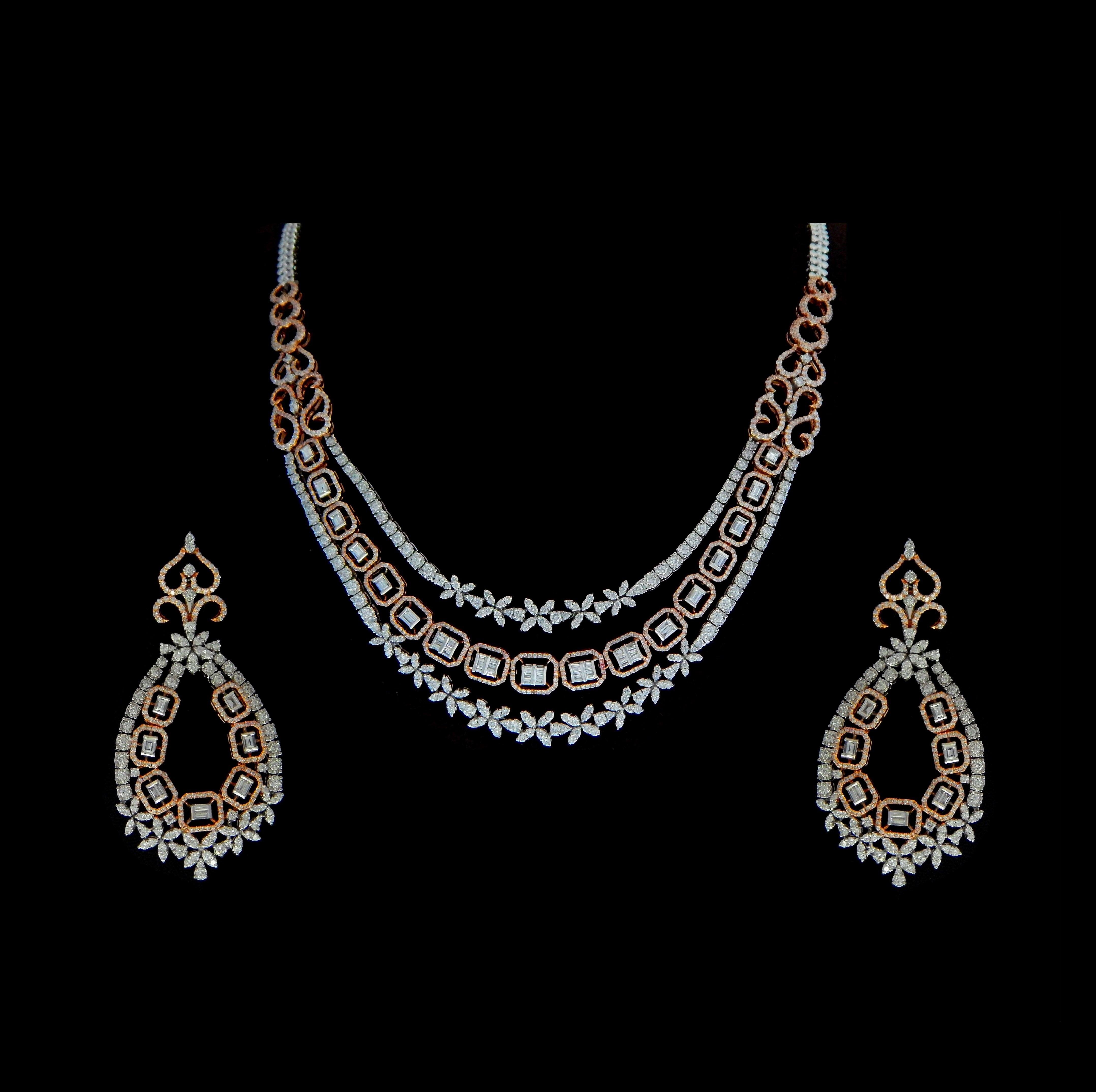 a5504c19e Diamond Necklace / Chokers - Designer Diamond Haram with Detachable ...