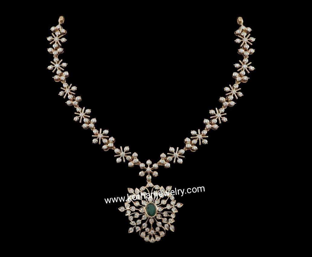 Designer Close Setting South Indian Diamond Necklace