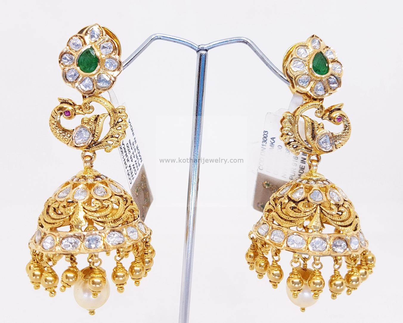 Gold Earrings, Gold Rings - 22kt gold jhumka, Gold jhumka with ...