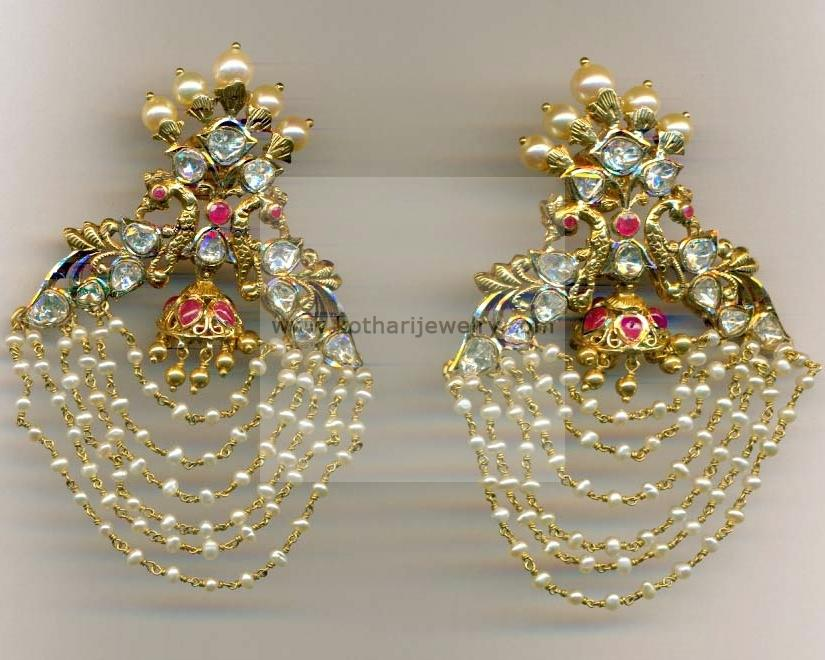 Gold Earrings Gold Rings 22kt Kasu lakshmi uncut jhumki Flat