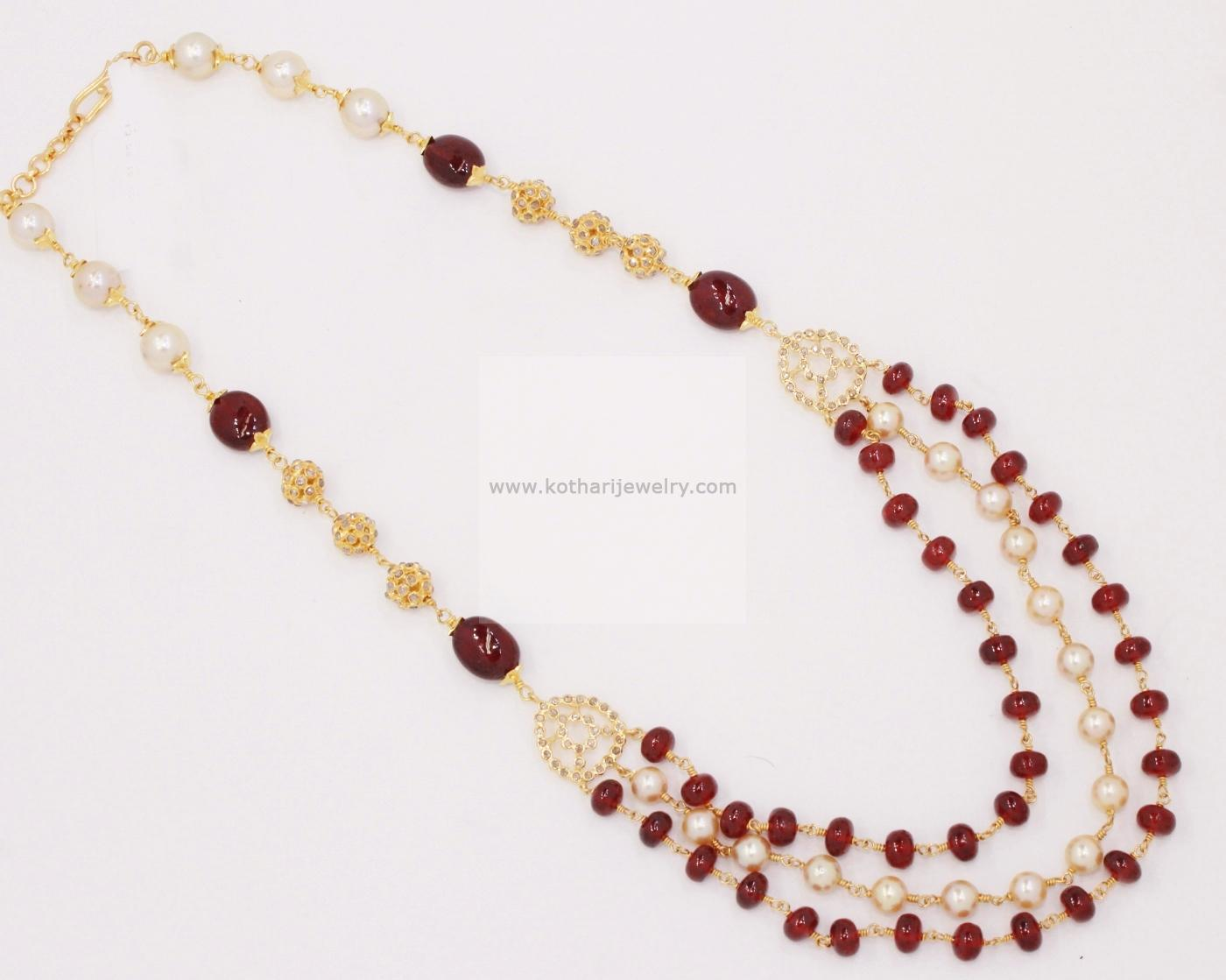 Gold Mangalsutra - Uncut diamond ruby pearl chain, 2 layer pearl ...
