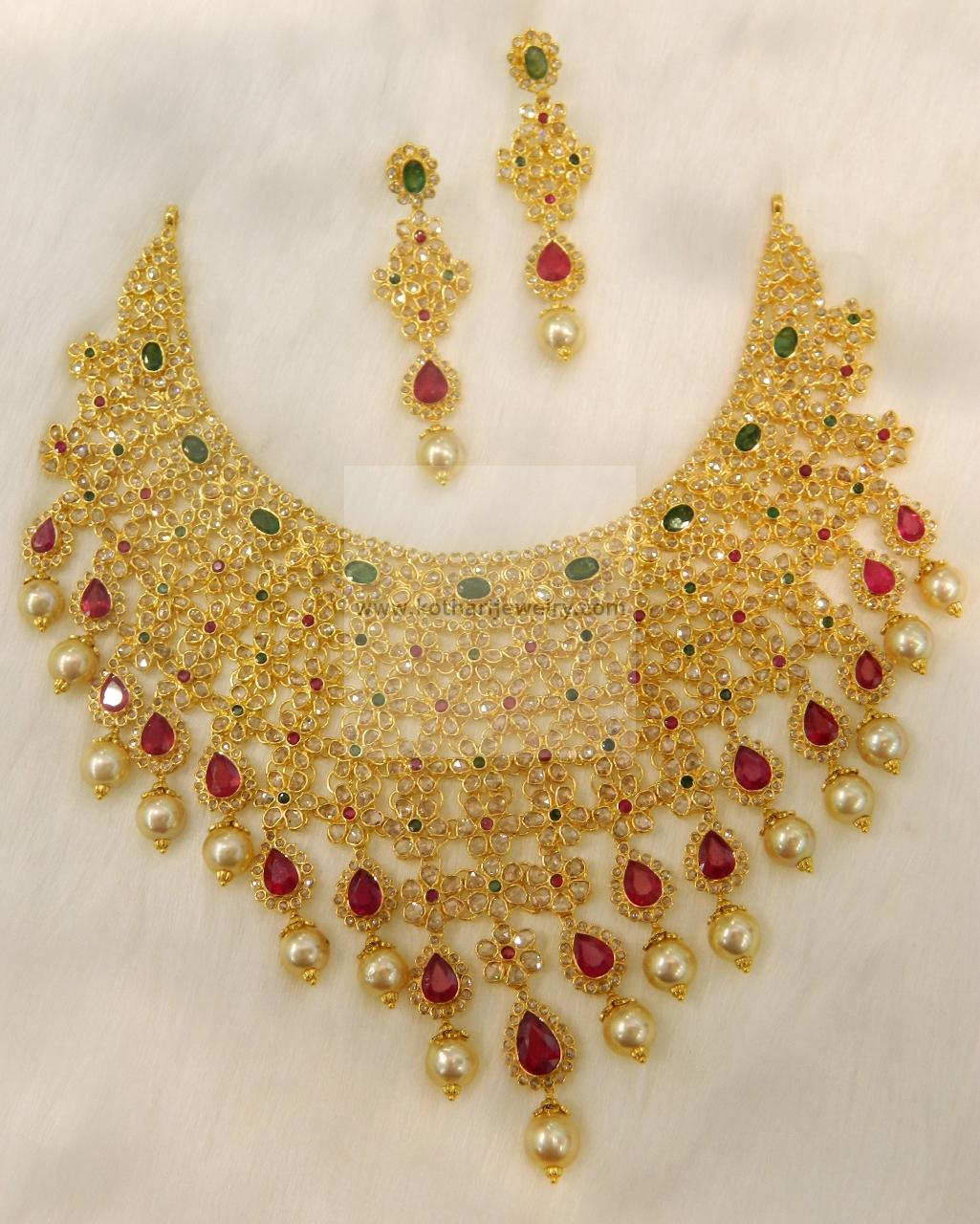 22kt Uncut Diamond Choker Necklace Set
