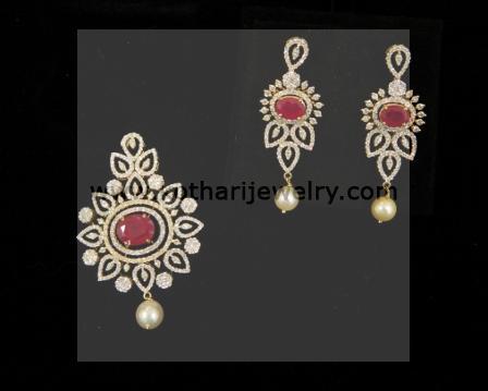 Diamond pendants diamond pendant and earrings indian diamond diamond pendant sets aloadofball Choice Image