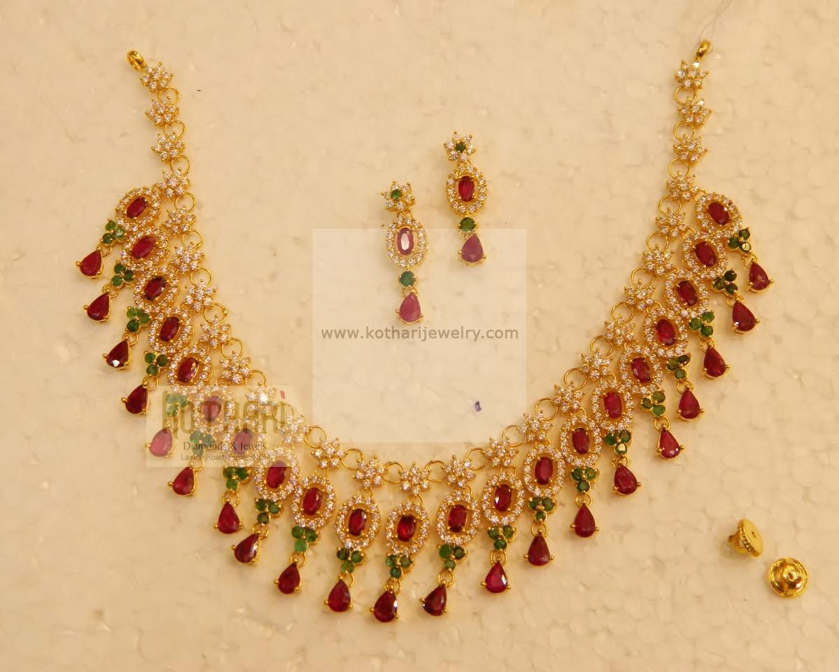 22kt Cz Ruby Emerald Necklace Set
