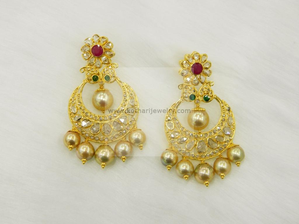 Gold Earrings, Gold Rings - 22kt Chandbalis in uncut diamonds ...