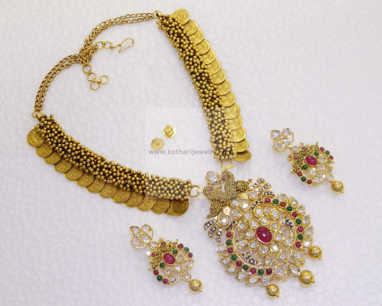 Gold Necklace - Half moon type designer uncut diamonds set, Floral ...
