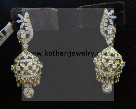 South Indian Diamond Jhumki Er19300152 Nakshatra 7 Stone Earrings