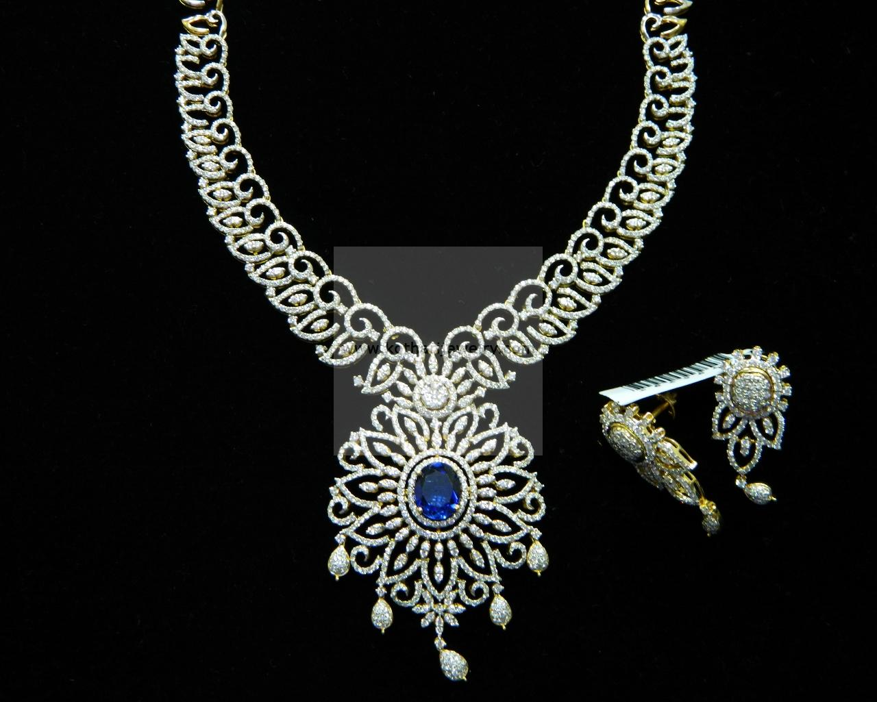 Interchangeable Stone Indian Diamond Necklace Set