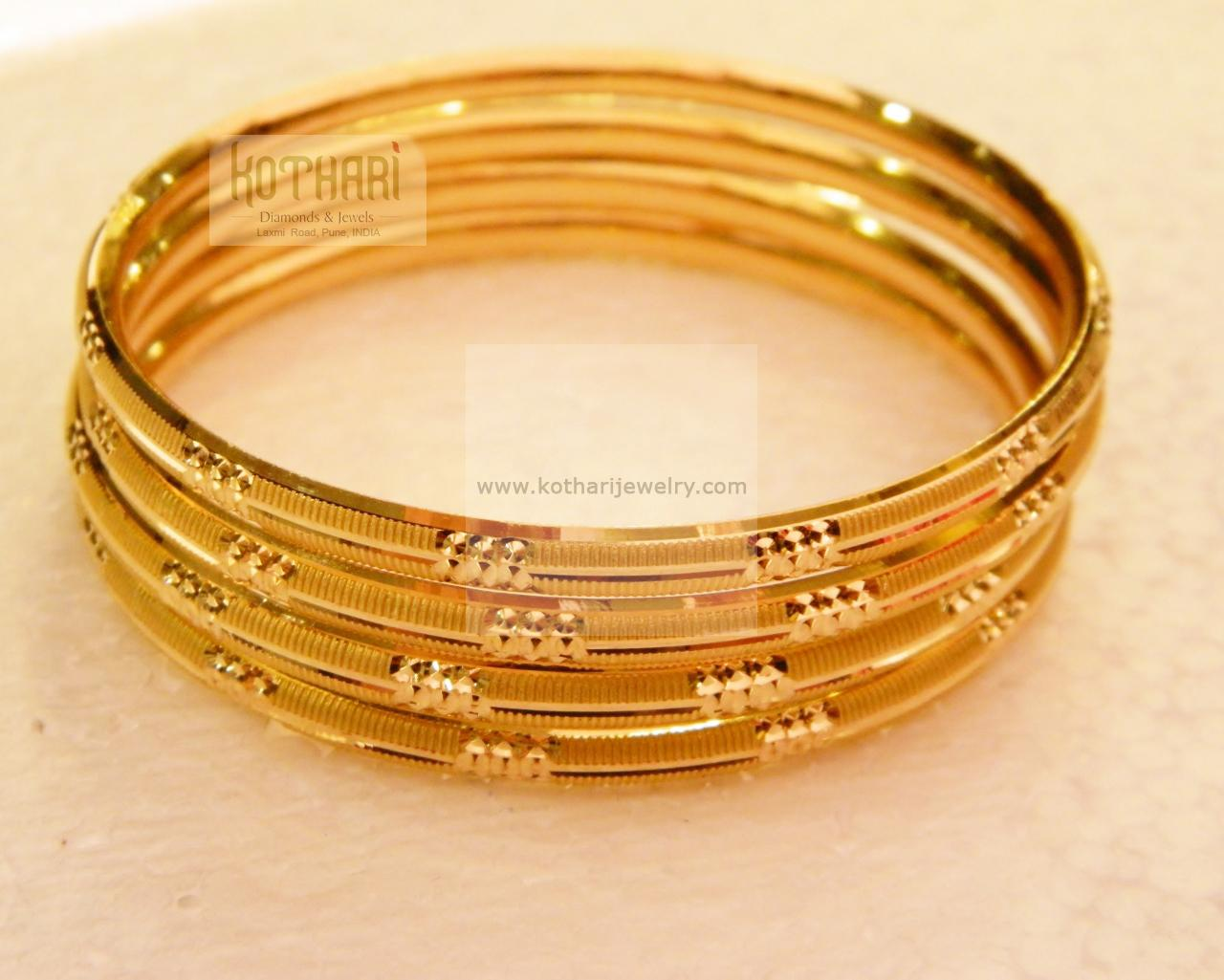 Gold Bangles - Ligth weight gold bangles, 4 piece light weight ...
