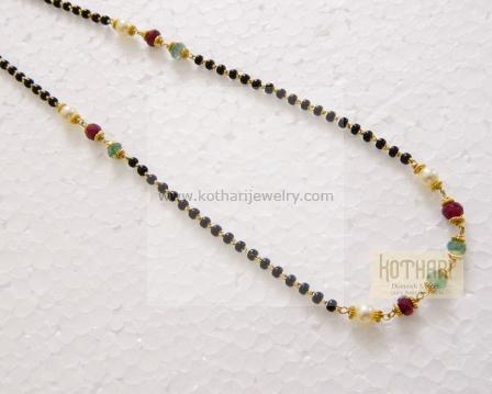 22K Gold Mangalya Chain - rubies, emeralds, pearls