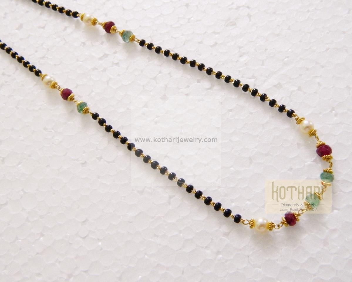 fe871300820 22K Gold Mangalya Chain - rubies, emeralds, pearls