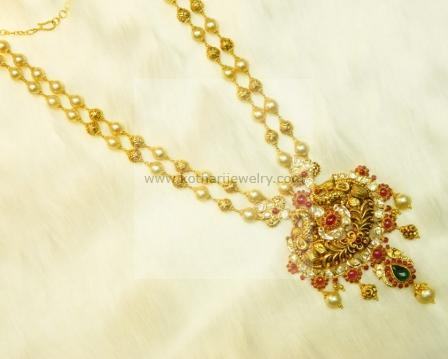 Gold necklace 22kt gold floral beads multilayer peacock haram necklaces harams aloadofball Images