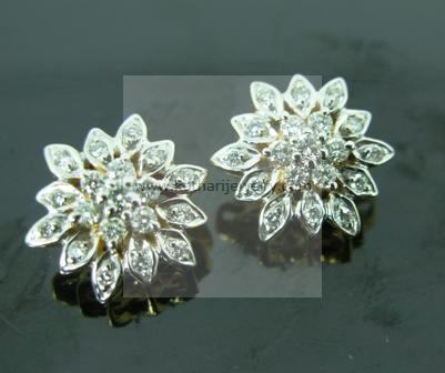Traditional South Indian 7 Stone Diamond Earring Earrings