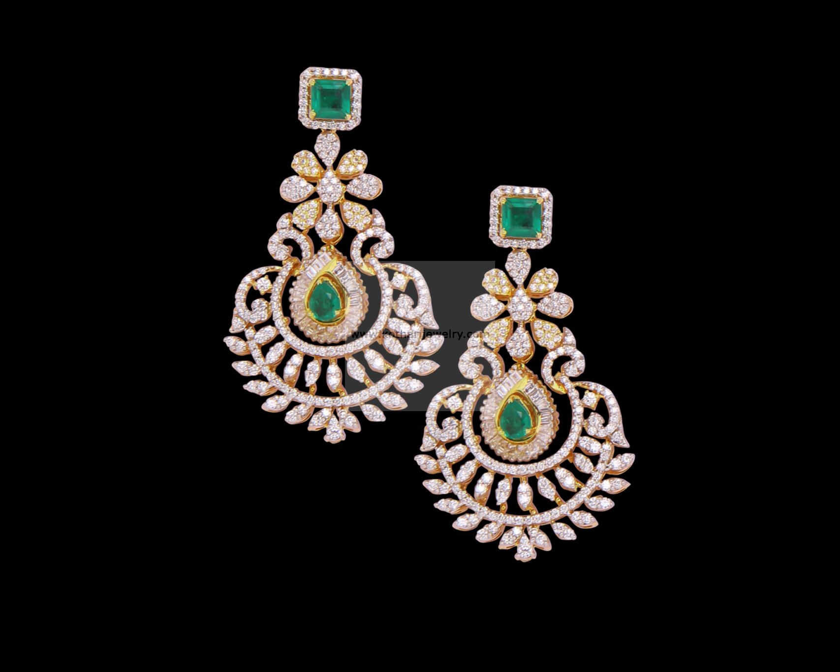 antique temple designer earrings diamond jewellery