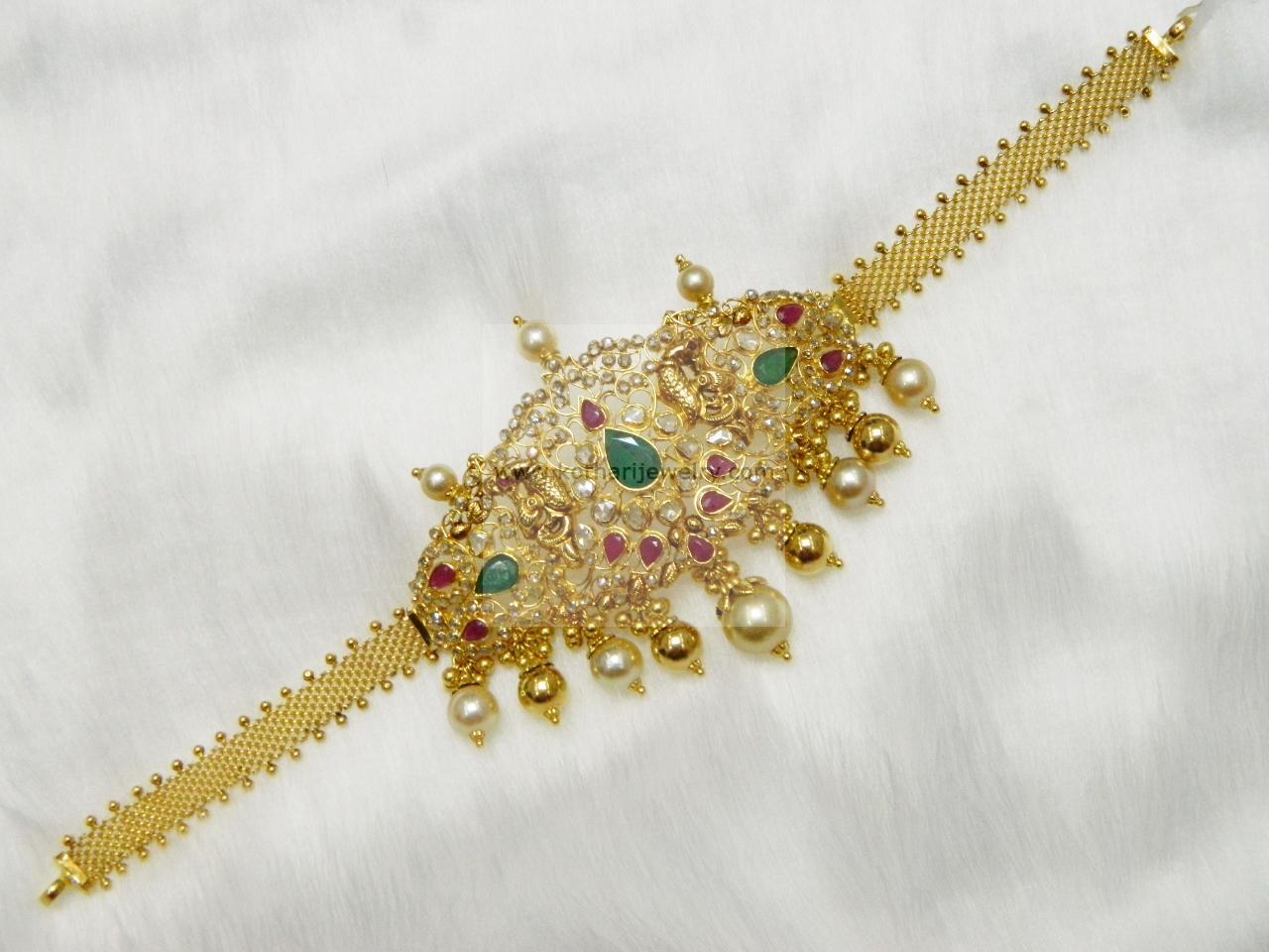 Gold Bracelet, Gold Vanki, Gold Bajubandh - 22kt gold uncut ...