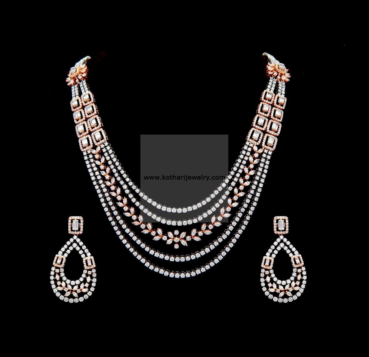 Bridal Diamond Necklace And Haram Set: 5 Layer Diamond Bridal Haram