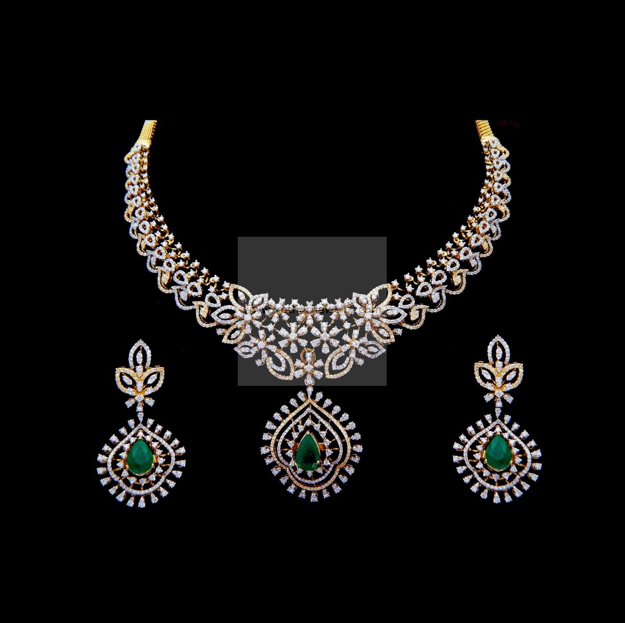 set india emerald pure necklace south jewels diamond indian