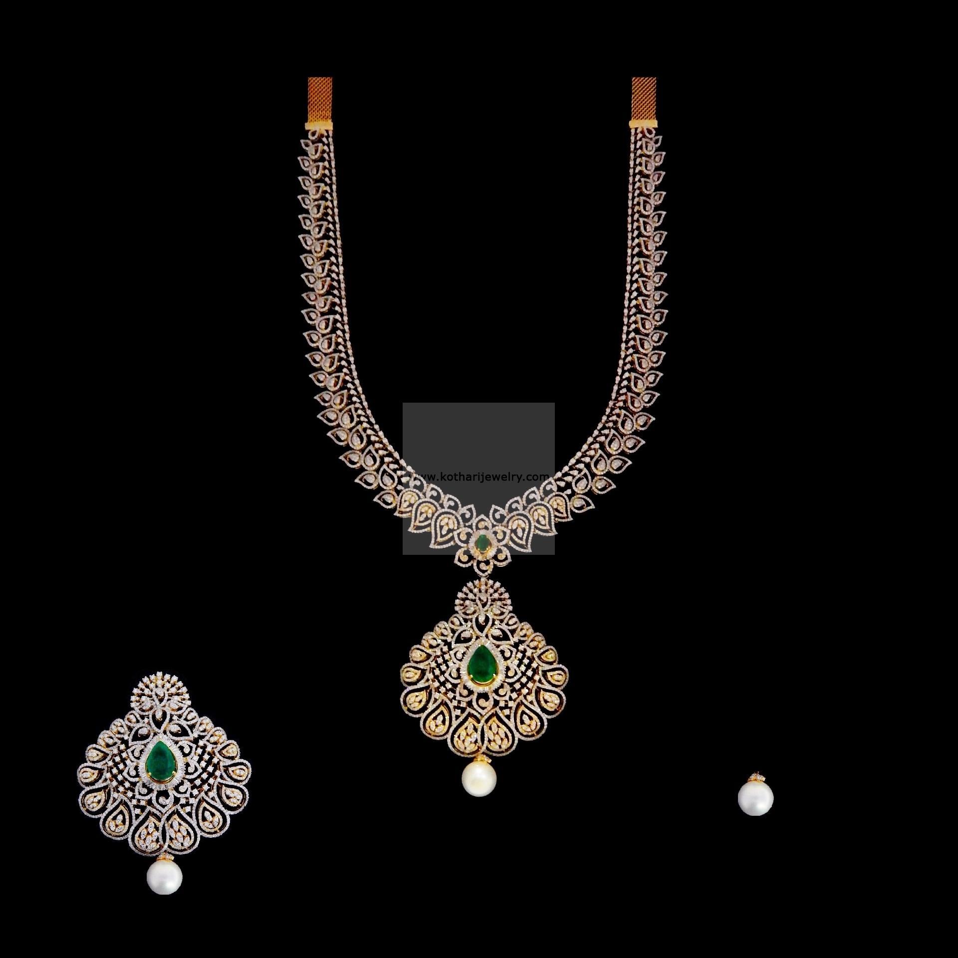 Bridal Diamond Necklace And Haram Set: PEACOCK DIAMOND NECKLACE SET, DIAMOND