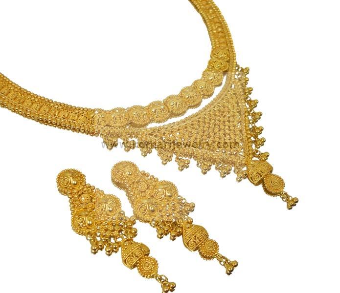 Dubai Pattern Bridal Gold Necklace