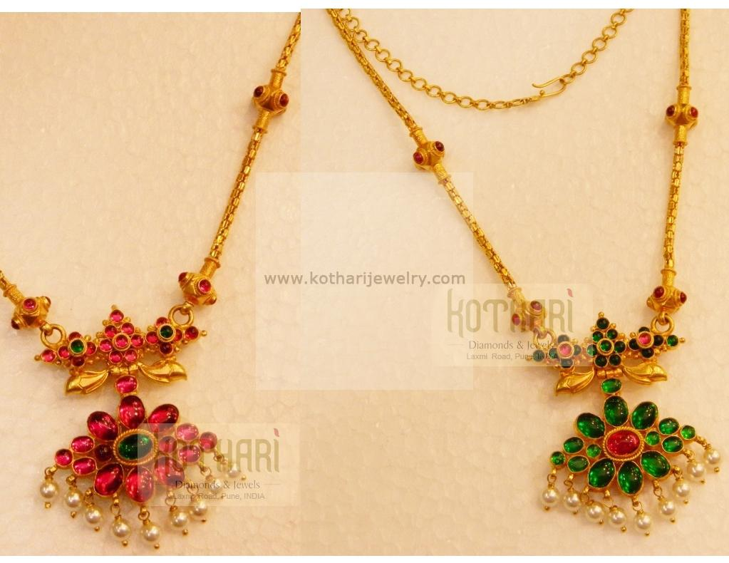 Gold long necklace design with price - Add Cart