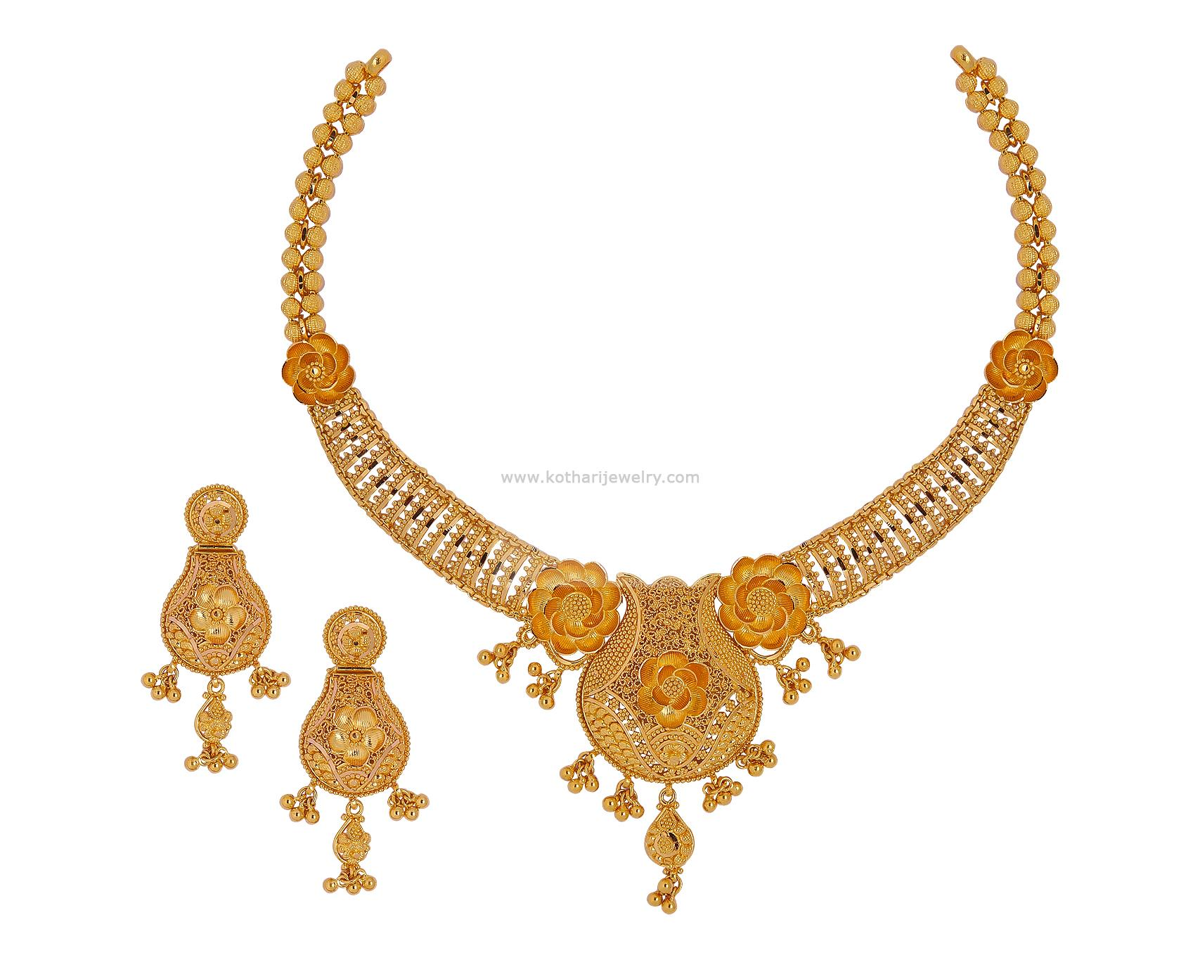 Gold Necklace - 22Kt Uncut Diamond Necklace Set, 22Kt Uncut Diamond ...