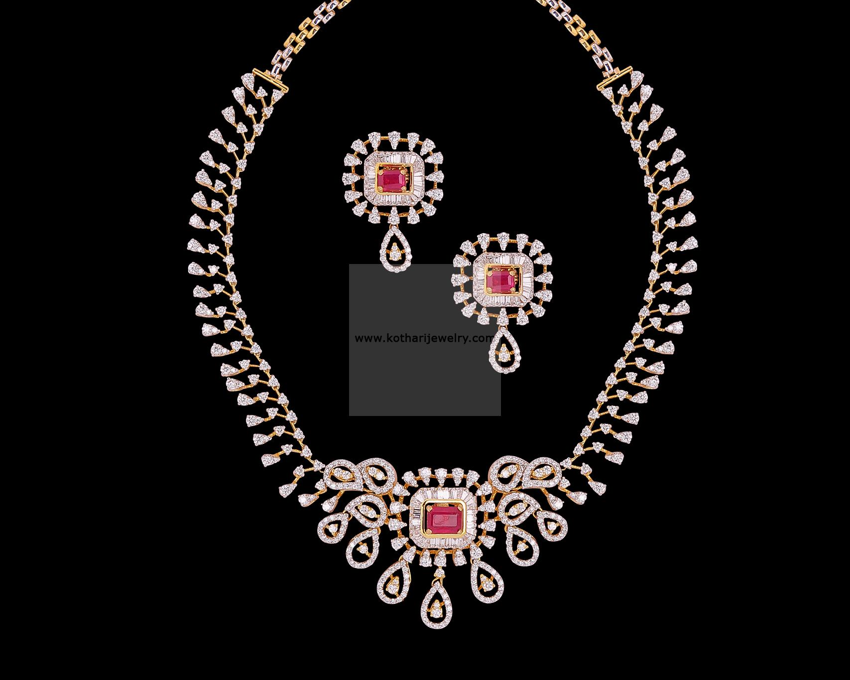 Diamond Necklace Broad Diamond Necklace Set Bridal Diamond Neck