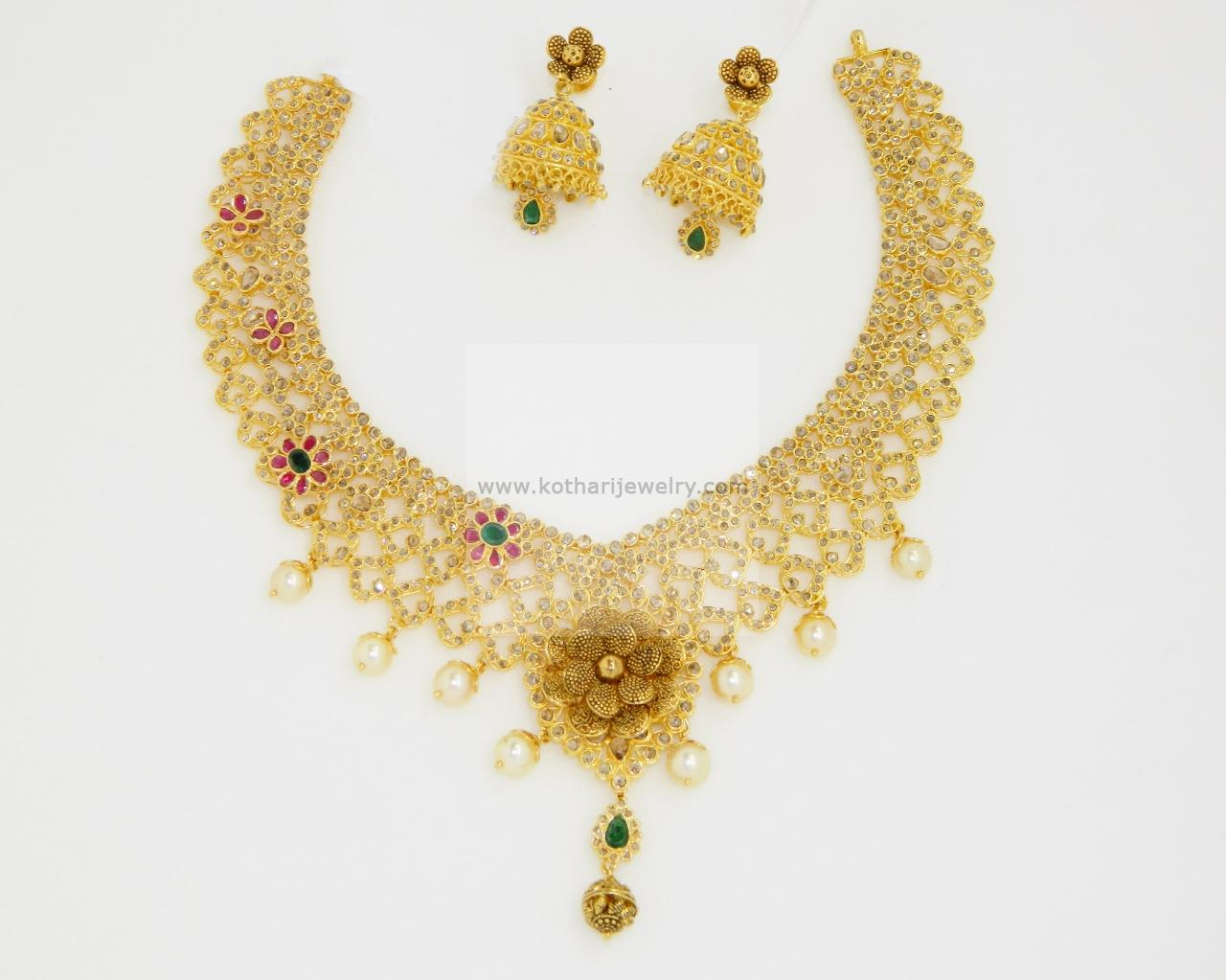 Gold Necklace - 22Kt Uncut diamond necklace set, 22Kt uncut ...