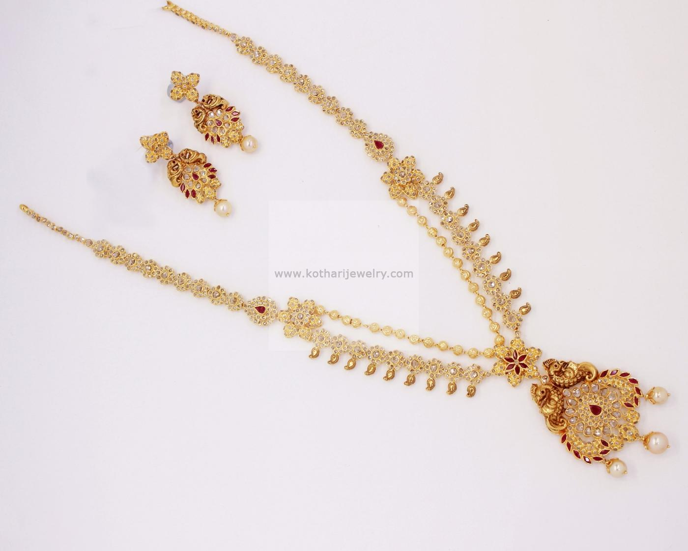 Gold Necklace - 22kt Dori Necklace with Floral Pathakas, Designer ...