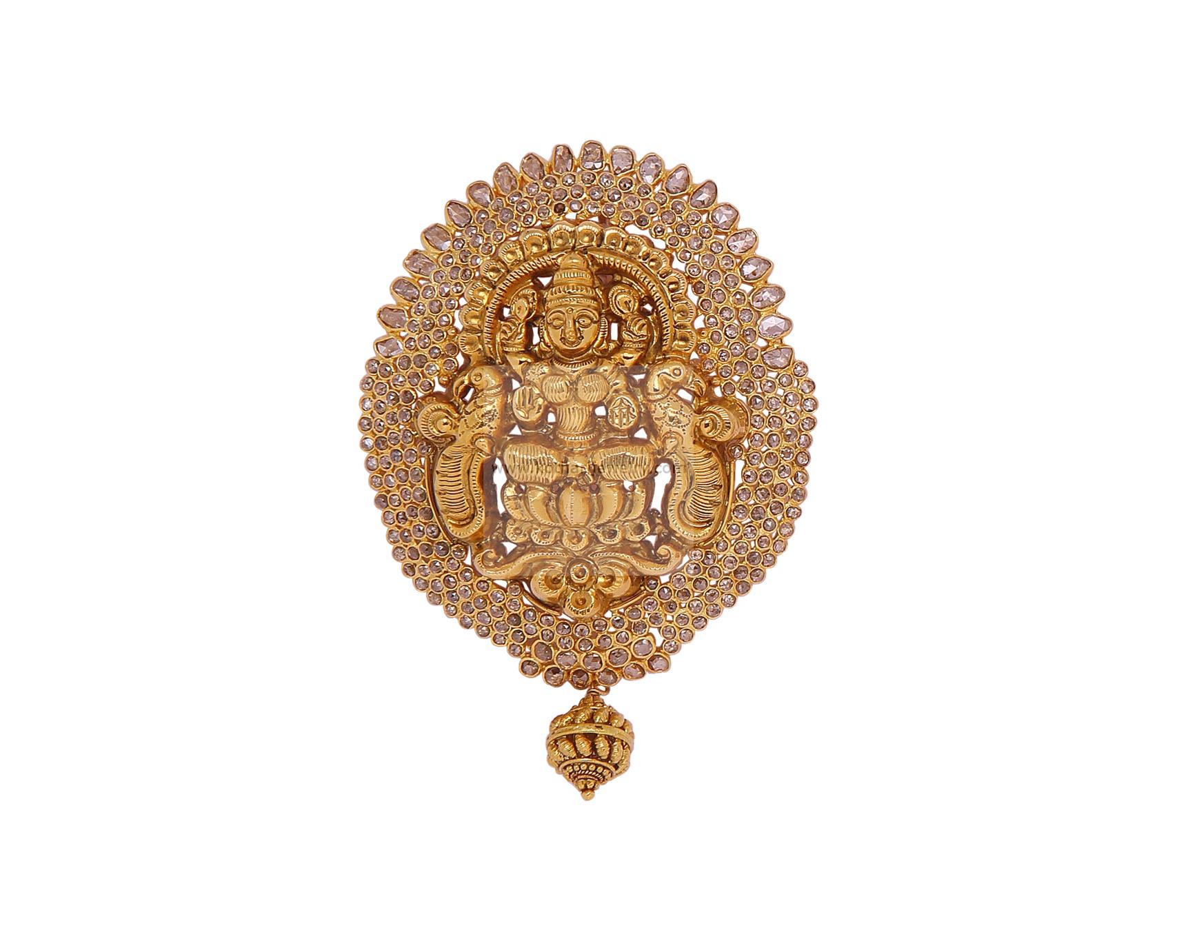 Gold Pendant Sets - Traditional Uncut Pendant set, 22kt uncut ...